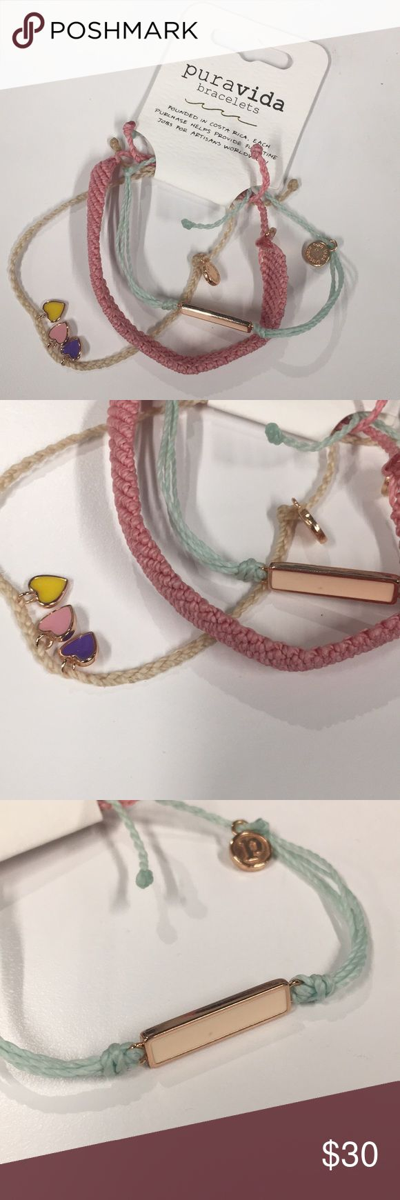 Pura Vida Bracelets Style Pack Three Bracelets Style Pack!  Creme colored string… – My Posh Picks