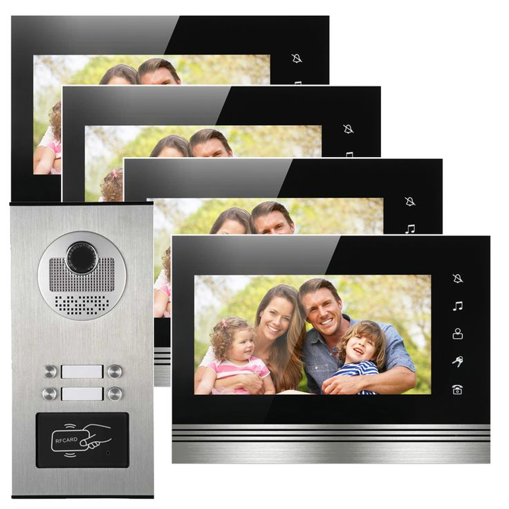 """4 Apartments building access control interfone 7"""" color display night vision door camera with RFID card reader"""