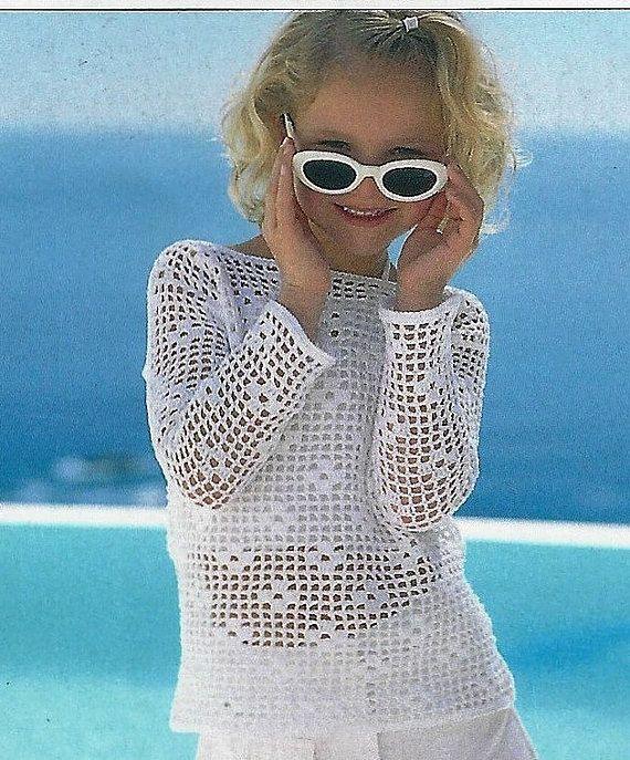 Crochet Girls Tunic Top Sweater Pattern  3/4 by FancyFashionKnits