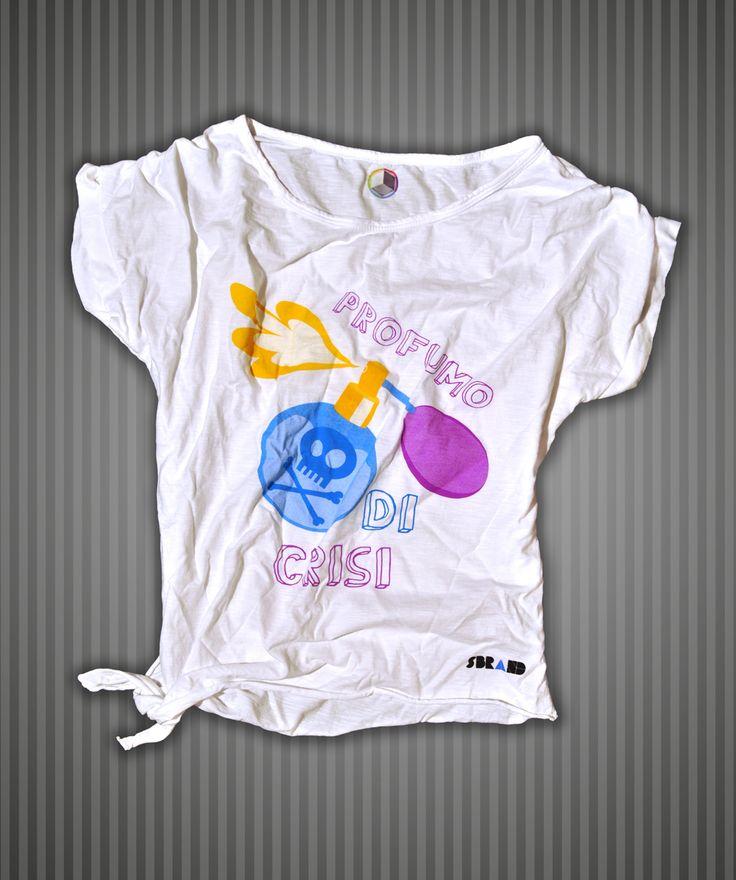 Idee Regalo e Kit : Maglietta bianca con fiocco in cotone fiammato donna Sbrand
