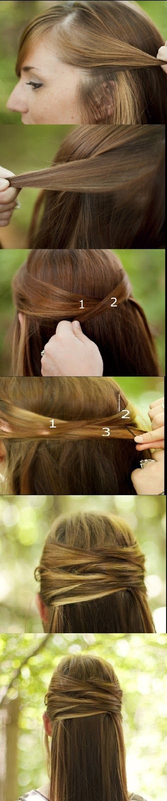 Overlapping Half-Up Half-Down Hair Tutorial Looks great all the way down the back of your head, with a fishtail side braid to finish it off