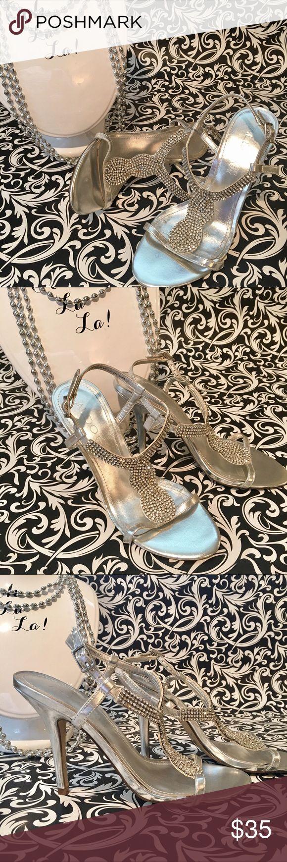 """Aldo silver rhinestone heels Aldo silver rhinestone heels, ankle strap, size 7. Few rhinestones missing but not noticeable. 4-1/2"""" heel. Aldo Shoes Heels"""