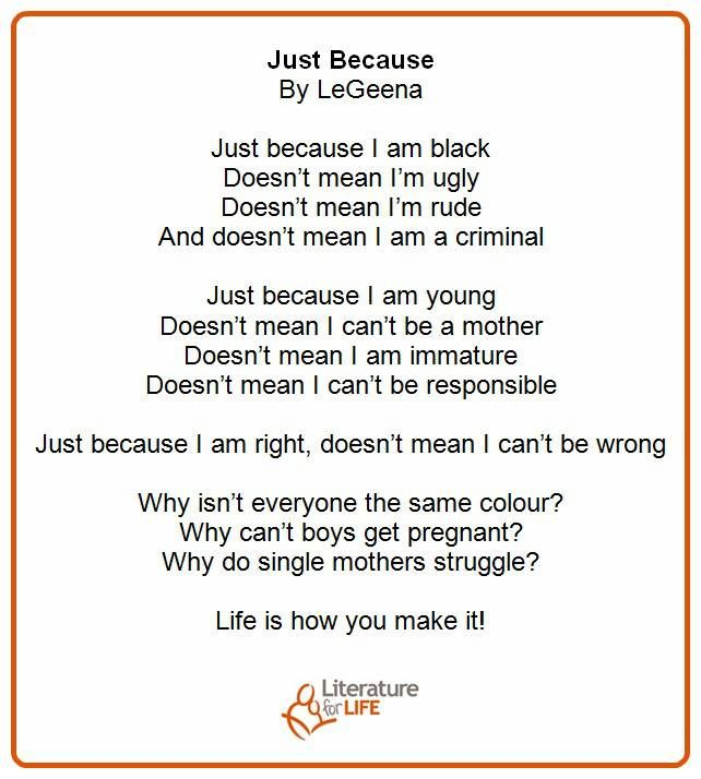 """""""Just Because"""" -- a poem from our reading circle participant, LeGeena"""