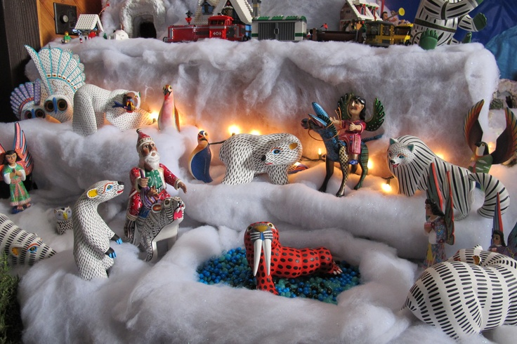 Polar Bears and Santa.  Polar Bears -Luis Pablo and Jimenez  Santa on Polar Bear and Angel on Burro - Agustin Cruz Tinoco