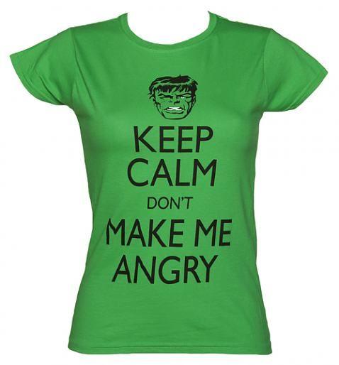 Ladies Green Keep Calm Don't Make Me Angry Incredible Hulk T-Shirt xoxo