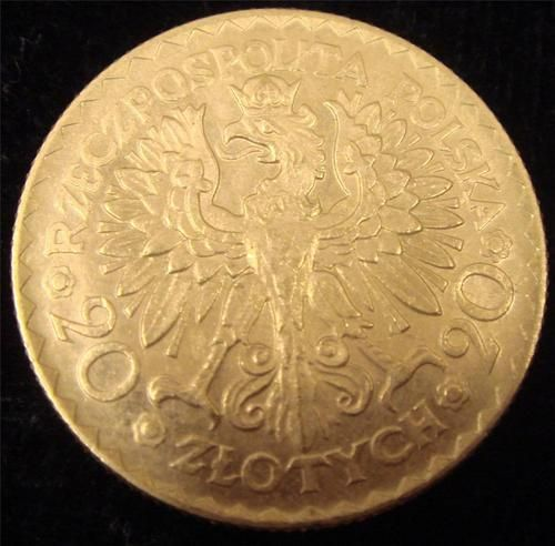 1925 Poland Gold 20 Zlotych Gold Coin CH.AU-55+  6.4516 grams .900 Gold low mintage: 27,240