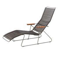 De Click stoelen bestaan uit een gepoedercoat metalen frame met plastic lamellen en armleuningen van bamboe. Afmetingen: h 32/97 cm x b 60 cm x l 145 cm.