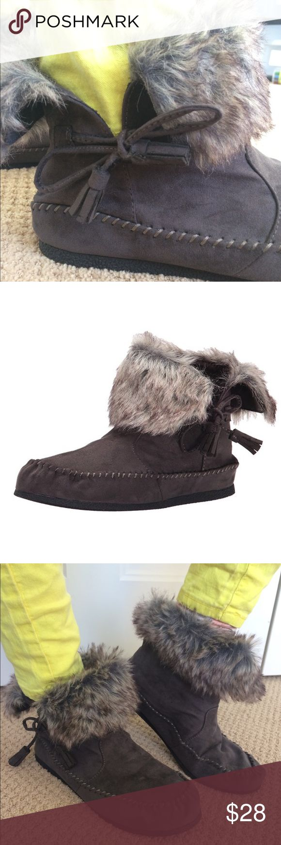 Fur cuff moccasin boot Brand spanking new boots that can be worn with the cuff up or down. Adorable! Madden Girl Shoes