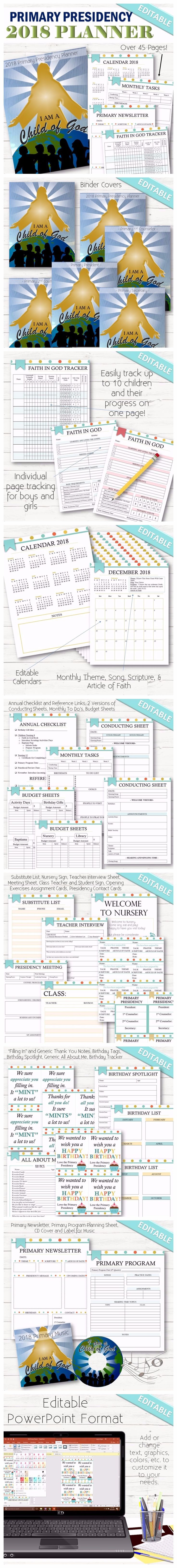 """An editable version of the Primary Presidency Planner with the 2018 curriculum. A cute and simple way to make managing all the responsibilities and tasks in the LDS Primary Program easy. This all-in-one planner includes monthly songs, themes, calendars, task lists and more! This comes in a PDF format AND an editable PowerPoint format where you can change the graphics, fonts, sizing, headers, titles, content, etc! Formatted to fit a 8.5""""x11"""" page. Planner Includes 47 Pages!"""