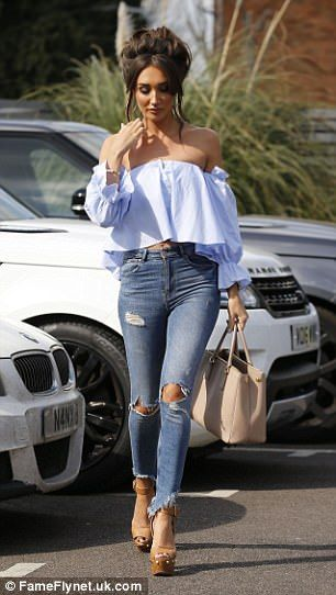 Megan McKenna flashes her abs at TOWIE filming with Georgia Kousoulou #dailymail