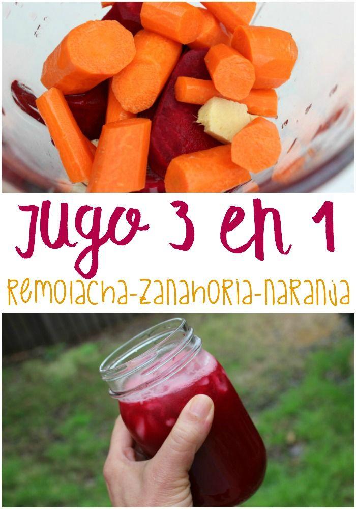 Uno de los jugos es el 3 en 1. Se le conoce así por ser la combinación de un trio de poderosas frutas, que son remolacha (es un tubérculo) o betabel, zanahoria y naranja. Esta es la receta para preparar este licuado tan saludable como sabroso y refrescante.