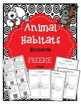 Use this freebie to get students excited about animal habitats  Use as a whole group  small group  or independent research activity This correlates with Common Core informational writing standards Includes Fun Fact Cards   1 with facts and 1 with facts and a QR code that links to kid friendly websites about animals   You will need a device that allows you to download a QR scanner  free  in order to use the interactive QR code fact cards