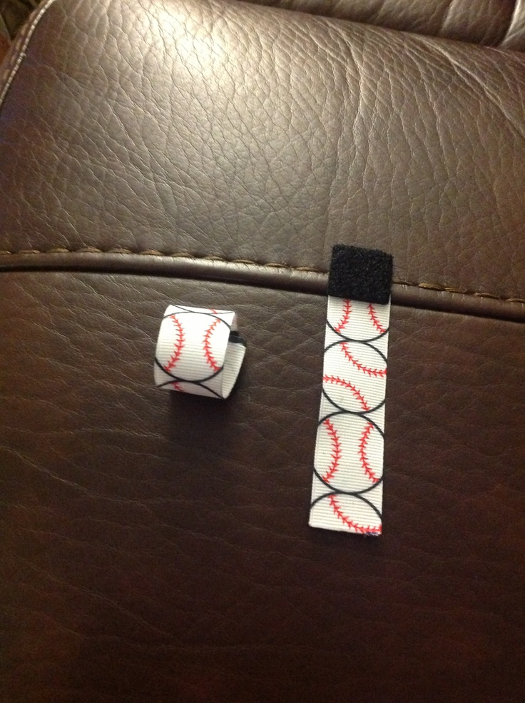 These are softball sleeve tie backs my husband made for his coach pitch softball teams....would have been better with softball ribbon but we couldn't find it...just some heavy duty Velcro and 4 inches of ribbon