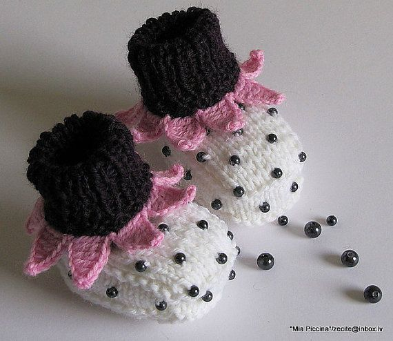 Knit Baby Booties Pink Strawberry Booties Hand Knit by MiaPiccina
