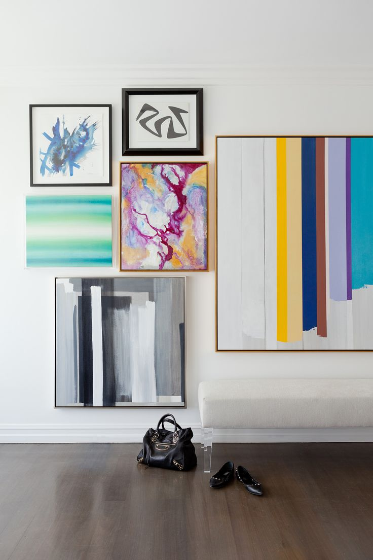 Simple White Bench + Colorful Abstract Art Collage Covering Wall | Jenn  Feldman Designs