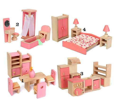 Sets Dollhouse Room Furniture Miniature Wood by AHBox on Etsy