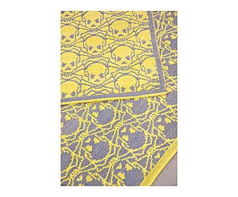 Alfombra artesanal en poliéster y algodón AJA, amarillo y verde azulado