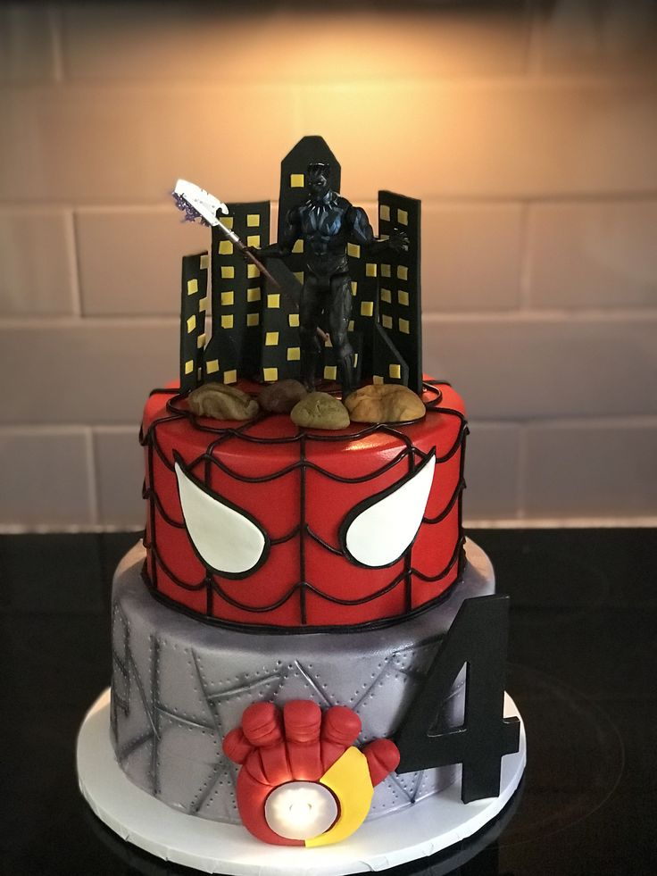 Marvel Black Panther Spider Man And Iron Man Cake In 2019