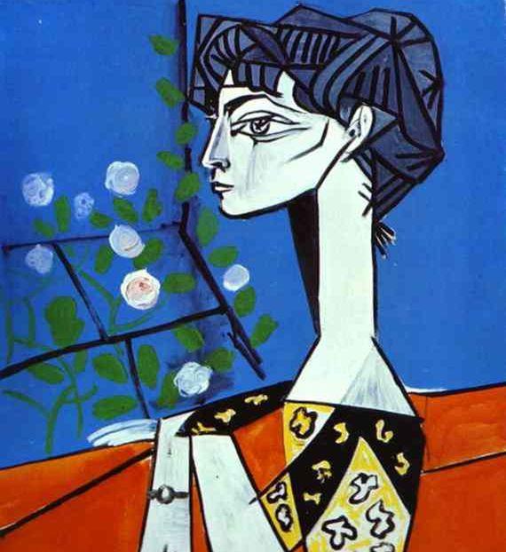 <꽃과 함께 있는 쟈클린>, 피카소, 1954   목이 길고 눈이 칼날 같이 큰 눈의 여자로 표정이 어둡다. 그녀의 초상화에서는 얼굴을 여러 개 겹친 이전의 기법은 사라졌다. 가장 눈에 띄는 특성은 화려한 장식성과 굵은 검정 색의 윤곽선으로 우울한 표정이다. 피카소가 직관적으로 느낀 이 여인의 표정은 우울하고 짙은 병기가 있다. 피카소의 다른 작품에도 나타나는 피카소의 마지막이자 일곱 번째 연인 쟈클린의 모습들은 모두 검고 어둡게 나타난다.