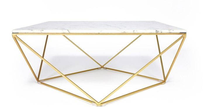 Table basse design façon marbre blanc avec piètement en fer