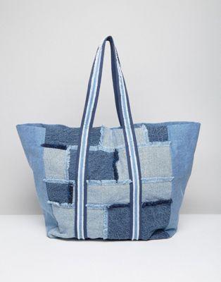 Джинсовая большая сумка-шоппер в стиле пэтчворк ASOS LIFESTYLE