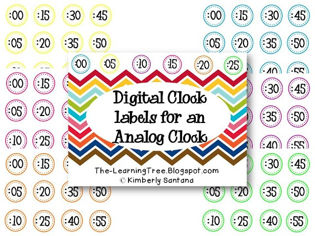 Labels for an analog clock