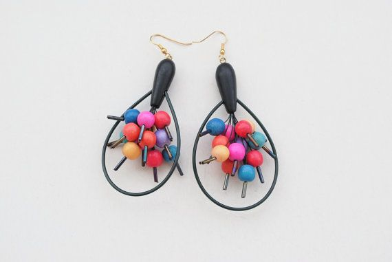 90s Earrings Black Earrings Multicolor Earrings by SoulSisters16