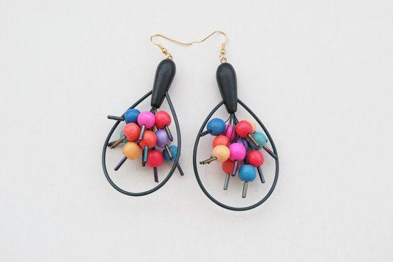 90s Earrings Black Earrings Multicolor Earrings by SoulSisters16