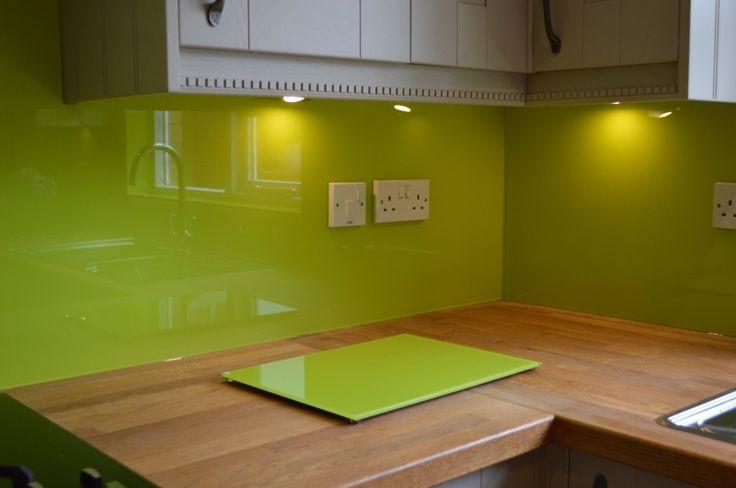 Lime Green Coloured Glass Chopping Board. View more Splashback-matching Accessories by CreoGlass Design (London,UK) on www.creoglass.co.uk #modernkitchen #interiors