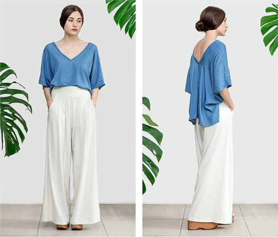 Palazzo Pants high waisted wide leg trousers by TiendaCeremony