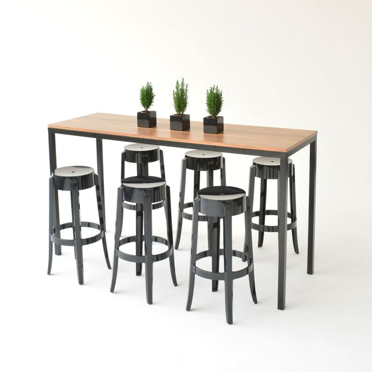 The Cameron Communal High Top Table Black Powder Coated Metal With Wood Block Printed Laminate