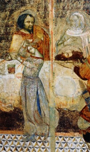 Pietro Lorenzetti - Banchetto di Erode, dettaglio - Santa Maria dei Servi, Siena