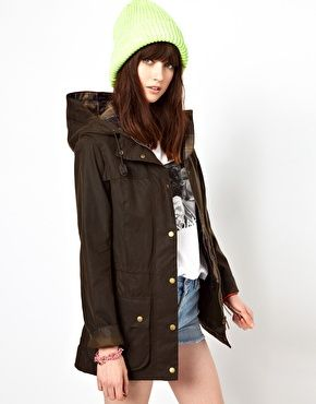 Barbour Vintage Durham Hooded Coat With Check Lining