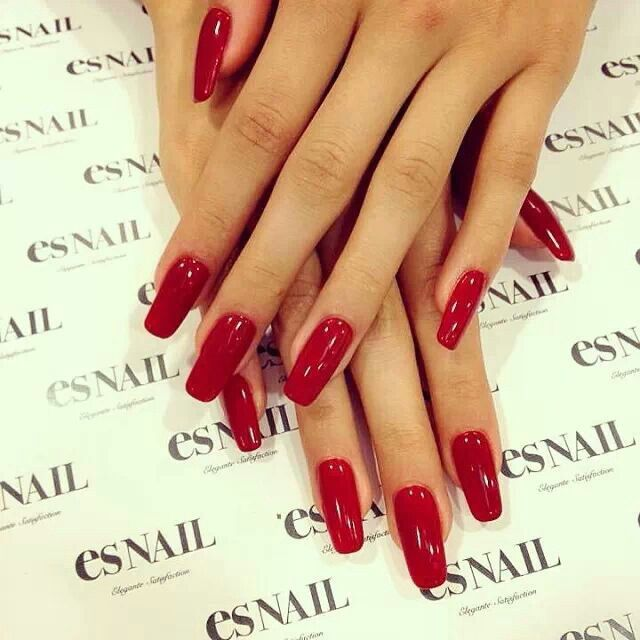 Pia mia, Red gel nails and Nails on Pinterest