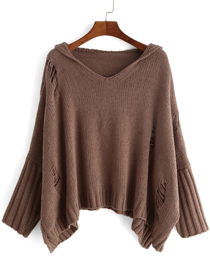 Camel V Neck Batwing Ripped Sweater 24.72