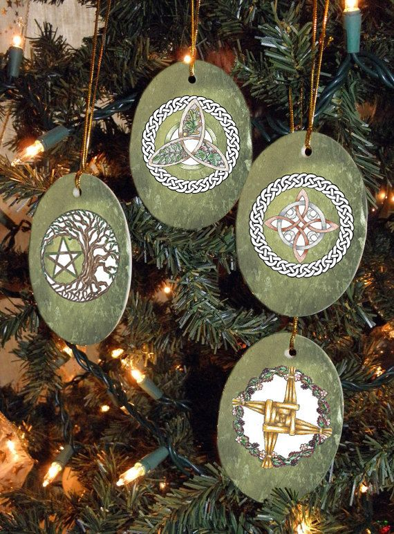 Set of Four Magical Symbols Yule/Winter Solstice Ornaments on Etsy, $24.00