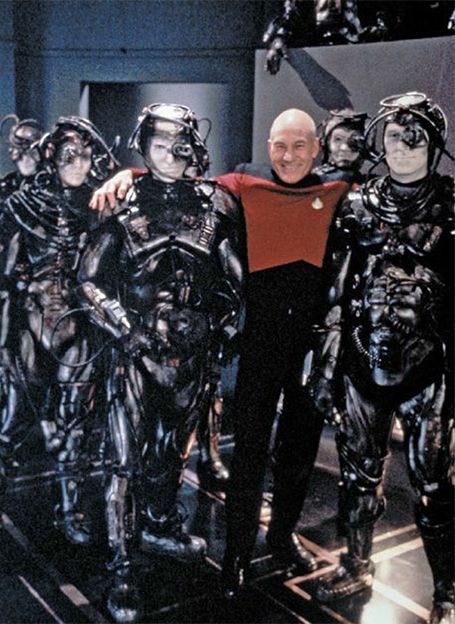 Captain Picard and the Borg take a photo op while filming Descent Part 2, 1993.