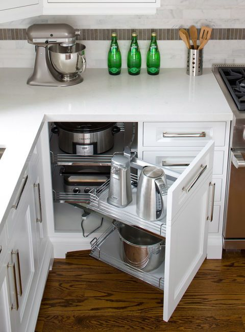 These Swing-Out Cabinets are for items you don't use on a daily basis, but when you do, require some heavy lifting-think your slow cooker or ice cream maker.