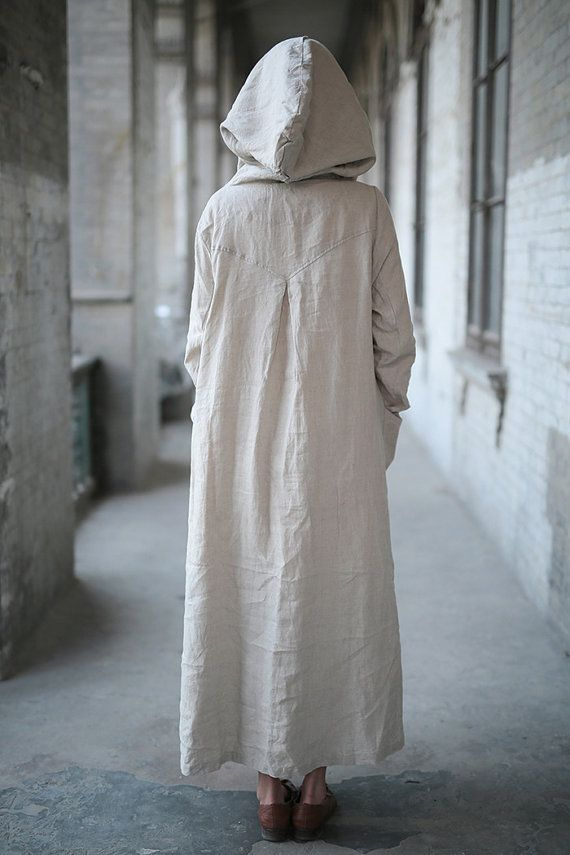 e6da4b8634 Linen dress Cotton dress Linen coat Hooded Long sleeve by Luckywu ...