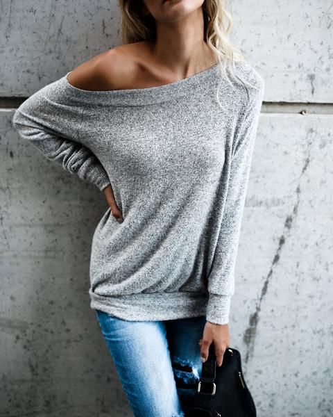 $24.99 Chicnico Fall Fashion Style One Shoulder Gray Long Sleeve Basic Top Knit Cardigan Sweater