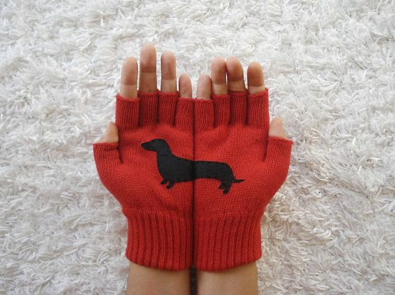Dog Gloves, Doxie Gloves, Dachshund, Fingerless Red Gloves, Unisex Gloves, Pet Lovers, Sausage, Christmas Gift