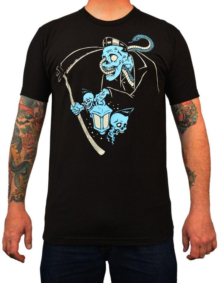 Men's Ghost Reaper by Rudey Horror Rockabilly Skull Tattoo Art T Shirt – moodswingsonthenet