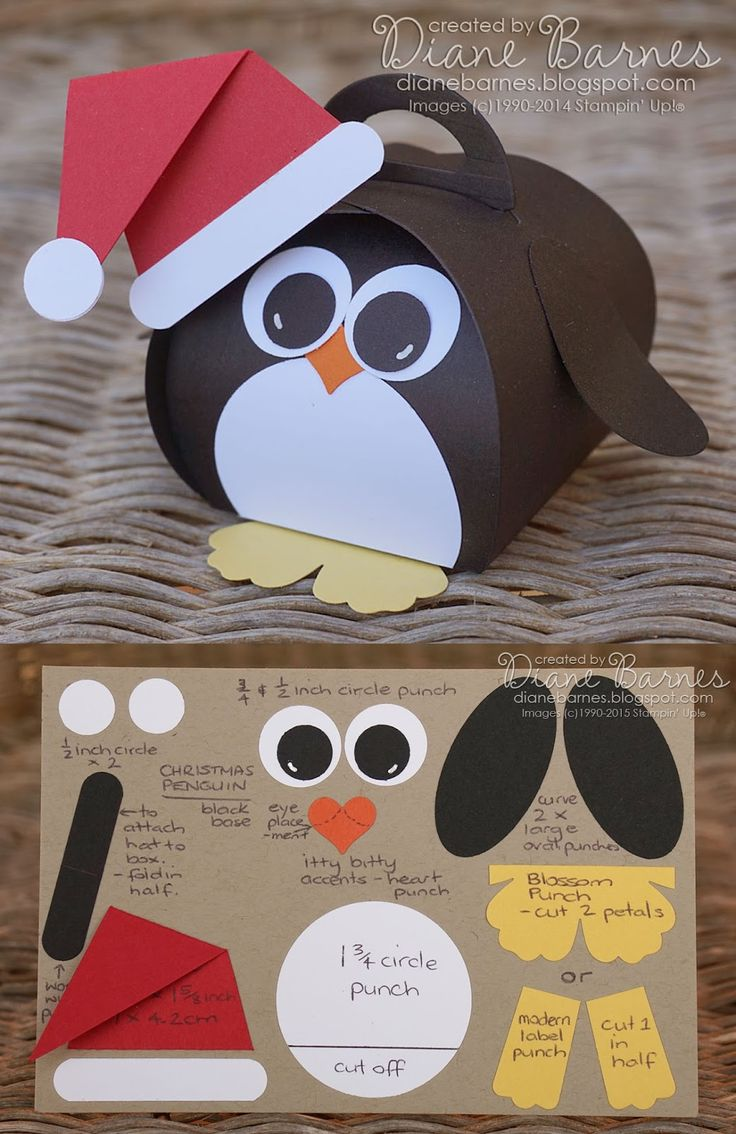 Cute Christmas penguin box & instructions, made with Stampin' Up curvy keepsake die & punches. By Di Barnes #colourmehappy