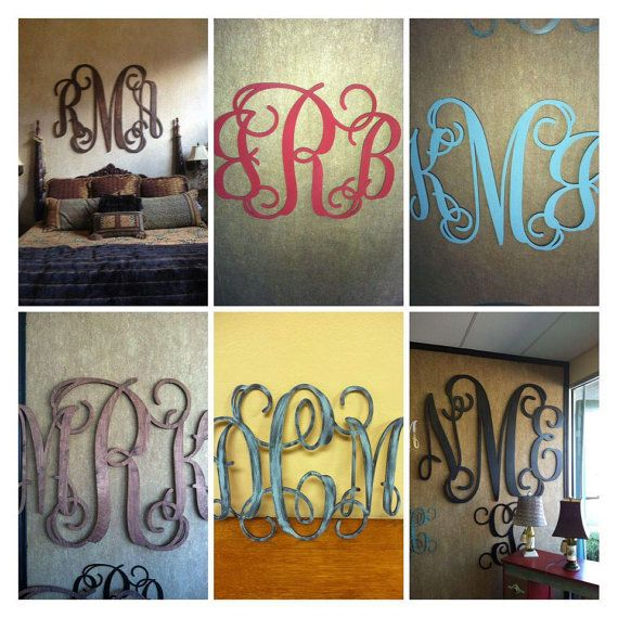 Want one over our bed!!  Wood Monogram Wall Decor by Weeziez on Etsy, $45.00