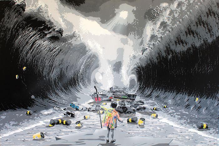 "KURAR street artist artwork named "" OPEN SEA "" more details on ; kurar.fr/#home"