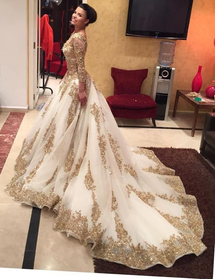 83398db2c07e Gold Lace Appliques Long Sleeves V Neck Ball Gown Tulle Wedding Dress –  Simibridaldress