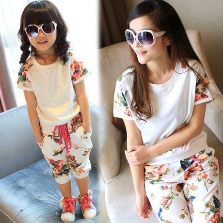 Лето стиль babymmclothes девочки женщины цветочный одежда комплект дети спорт костюм мать и дочь одежда мама и я комплект
