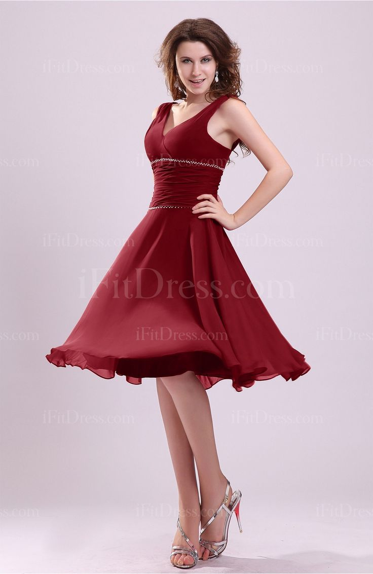 Dark Red Simple V-neck Sleeveless Zipper Knee Length Ruching Wedding Guest Dresses - iFitDress.com