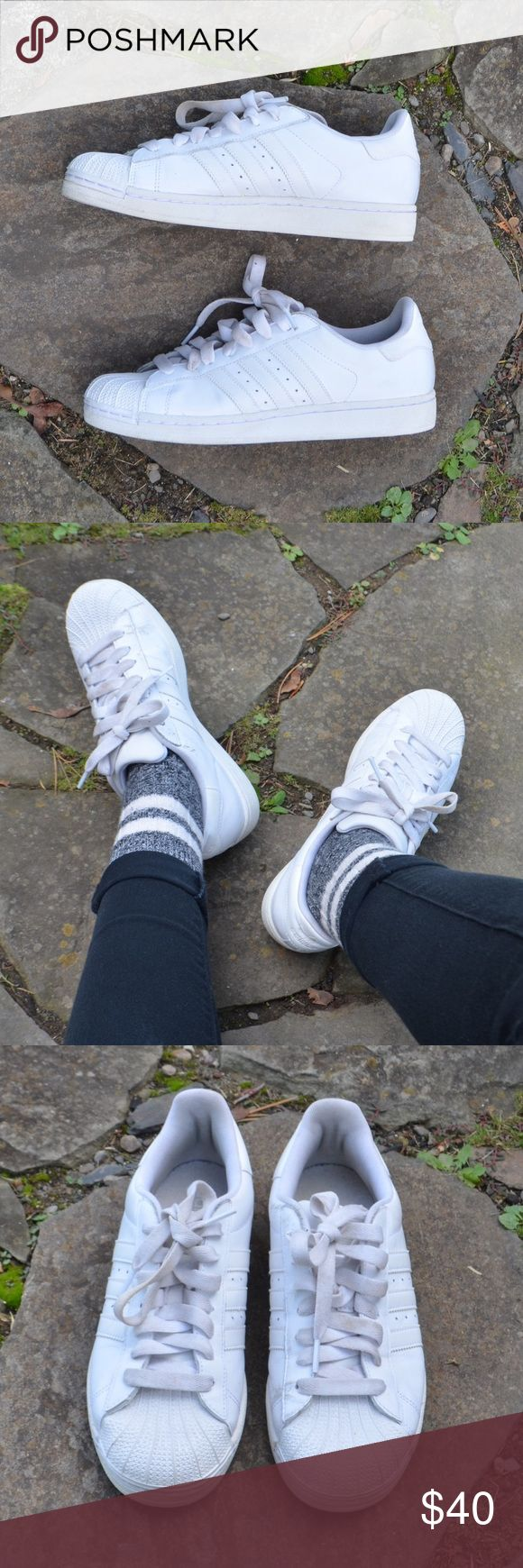 White Adidas Shell Toe Sneakers