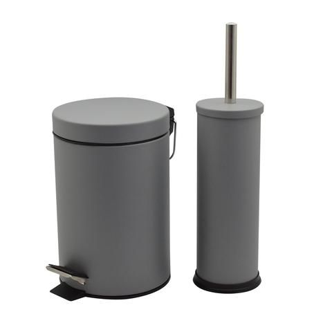 Harbour Housewares 3 Litre Bathroom Pedal Bin Toilet Brush Set